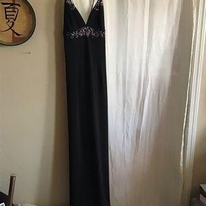 Gorgeous Long Blk Thin Strap Beaded Dress